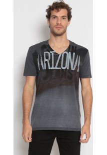 "Camiseta ""Arizona""- Preta & Cinza Escuro- Calvin Klecalvin Klein"