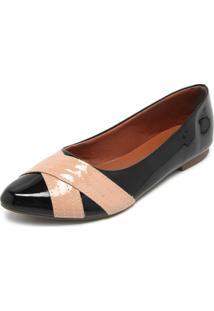 Sapatilha Dafiti Shoes Recortes Preta/Nude