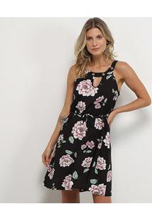 Vestido Curto Jin Recorte Amarração Floral - Feminino-Preto+Branco