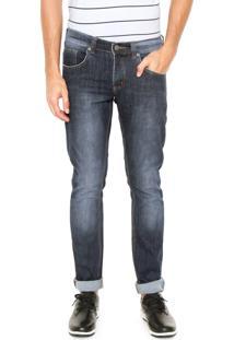 Calça Jeans Doc Dog Slim Azul-Marinho/Vermelha