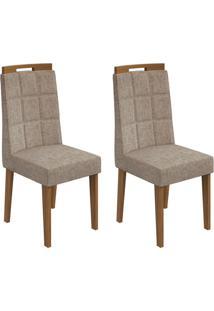 Conjunto De Cadeiras De Jantar 2 Nevada Veludo Imbuia E Avelã