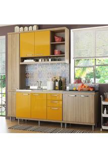 Cozinha Compacta 8 Portas Para Pia Com Balcão 5812 Amarelo/Argila - Multimóveis