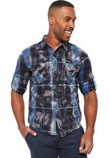 Camisa Gangster Xadrez Azul