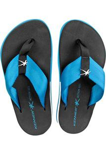 Chinelo Kenner Action Gel Street Masculino - Masculino-Azul+Preto