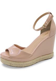 Sandália Anabela Anyp Shoes Acabamento Em Corda Nude