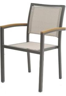 Cadeira Cristina Tela Bege Base Amendoa 56Cm - 60555 - Sun House