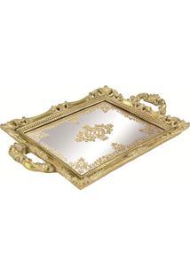 Bandeja Em Poliresina Com Espelho, Moas, Dourada, 3.5 X 25 X 38 Cm