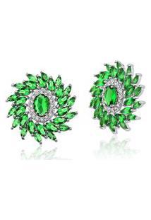 Brinco Le Diamond Pedra Oval E Zircônia Verde