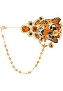 Dolce & Gabbana Broche 'Tiger' Com Aplicação De Cristais - Dourado