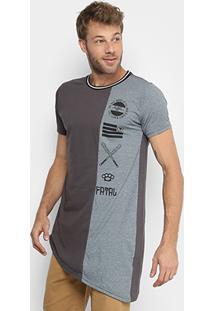 Camiseta Alongada Assimétrica Fatal Masculina - Masculino