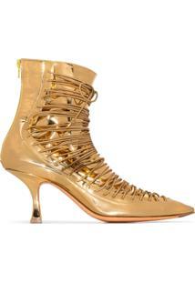 Y/Project Ankle Boot Com Cadarço - Dourado