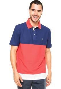 Camisa Polo Nautica Logo Azul/Vermelha