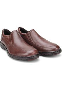 Sapato Conforto Couro Mariner Lexus - Masculino-Marrom Escuro