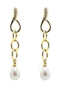 Brinco Barbara Strauss Gota Em Pérola Produzida Revestido Em Ouro 18K - Feminino-Branco