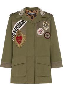 Dolce & Gabbana Jaqueta Militar Com Patches - Green