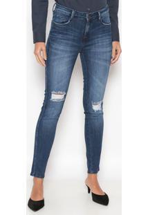 Jeans Cigarrete Estonada - Azul Escurodudalina