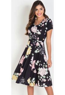 Vestido Evasê Floral Moda Evangélica