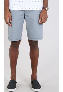 Bermuda Masculina Slim Estampada Mini Print Azul - 52