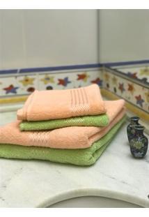 Jogo 4 Peças Toalhas Banho E Rosto Prisma Af1290 - Salmão E Verde