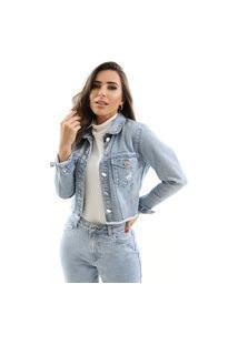 Jaqueta Zaiz Jeans Cropped Indigo Claro