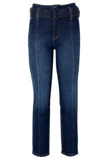Calça Le Lis Blanc Paula Straight Cinto Jeans Azul Feminina (Jeans Medio, 50)