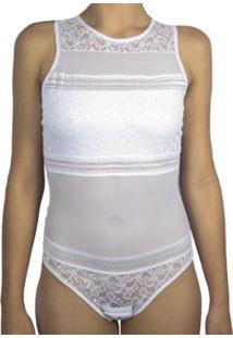 Body Feminino Com Renda E Detalhes Em Transparência Liebe - Feminino-Branco