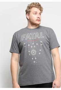 Camiseta Fatal Beautiful Life Plus Size Masculina - Masculino-Grafite