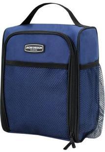 Bolsa Térmica Com Alça De Mão- Azul Escuro Preta- Jacki Design