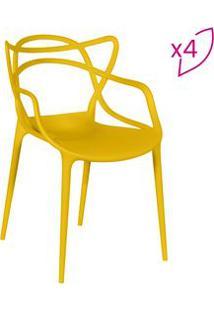 Or Design Jogo De Cadeiras De Jantar Solna Amarelo 4Pã§S