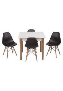 Conjunto Mesa De Jantar Luiza 80Cm Branca Com 4 Cadeiras Eames Eiffel - Preto