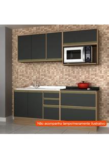 Cozinha Compacta Safira 6 Pt 5 Gv Preta E Avelã