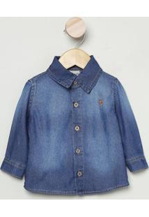 Camisa Jeans Com Bordado- Azul Escuro & Marrom Clarobakulelê