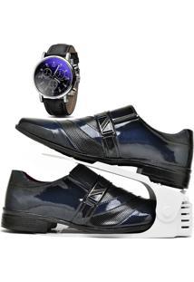 Kit Sapato Social Verniz Com Organizador E Relógio Dubuy 632Db Azul - Kanui