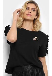 Camiseta Facinelli Babados Flores Feminina - Feminino-Preto