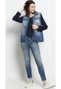 Colete Jeans Floral - Azul & Pretoscalon