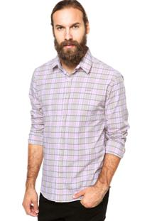 Camisa Colcci Slim Estampada Bege/Rosa