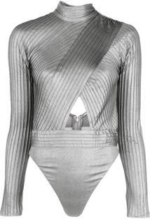 Tadashi Shoji Blusa Body Com Recortes Vazados - Prateado