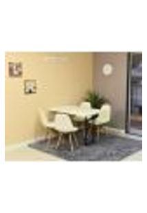 Conjunto De Mesa Dobrável Retrátil 120 X 75 Branca + 4 Cadeiras Botonê - Branca