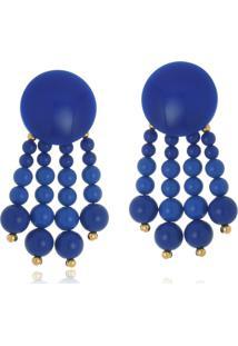 Brinco Le Diamond Acrílico Geométrico E Franjas Azul