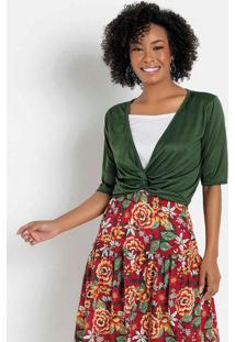 Blusa Verde Transpassada Moda Evangélica