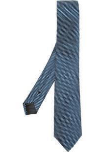 Emporio Armani Gravata De Seda Estampada - Azul