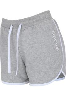 Shorts Moletinho Calvin Klein Básico - Feminino - Cinza