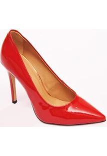 Sapato Scarpin Verniz Couro Christian Fischer Feminino - Feminino-Vermelho