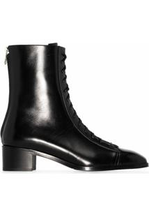 Aeyde Ankle Boot Noel De Couro Com Salto 40Mm - Preto