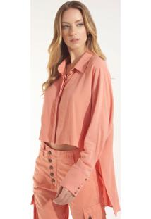 Camisa Rosa Chá Canyon 1 Crepe Laranja Feminina (Canyon Clay, M)