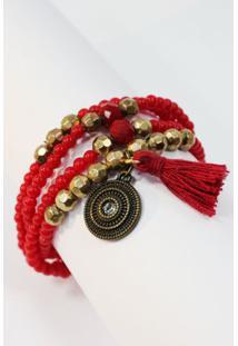 Pulseira Medalha Luck Color Vermelho-Un