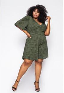 Macaquinho Almaria Plus Size Sinap Poá Evergreen Feminino - Feminino-Verde
