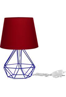 Abajur Diamante Dome Vermelho Com Aramado Azul - Vermelho - Dafiti