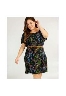 Vestido Plus Size Feminino Babado Estampa Floral Marisa