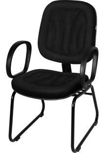Cadeira Interlocutor Base Trapã©Zio C/ Braã§O Preta - Preto - Dafiti